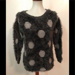 Soft fuzzy polka dot sweater